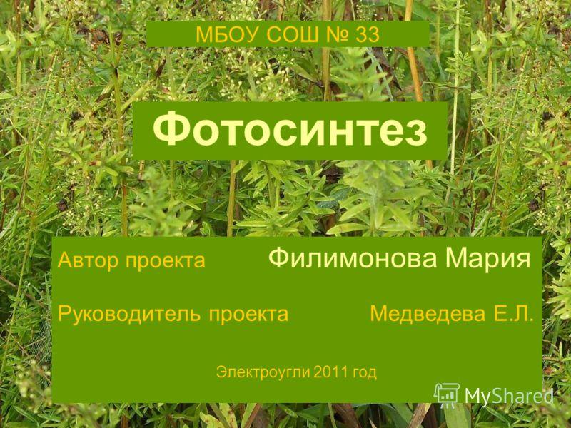 МБОУ СОШ 33 Фотосинтез Автор проекта Филимонова Мария Руководитель проекта Медведева Е.Л. Электроугли 2011 год