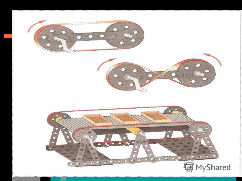 * Выполни задание 41 в рабочей тетради. Рассмотри схемы ременных передач вращательного движения. Прямая передача когда два колеса крутятся в одном направлении. Перекрёстная передача когда колёса крутятся в разных направлениях. Попробуй догадаться, гд