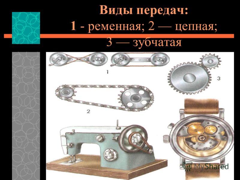 Сегодня передаточные механизмы используют в различных технических устройствах от самых простых до сложных станков и машин. Рассмотри рисунки видов передач. Найди эти передачи в технических устройствах швейной машине, часах, велосипеде.