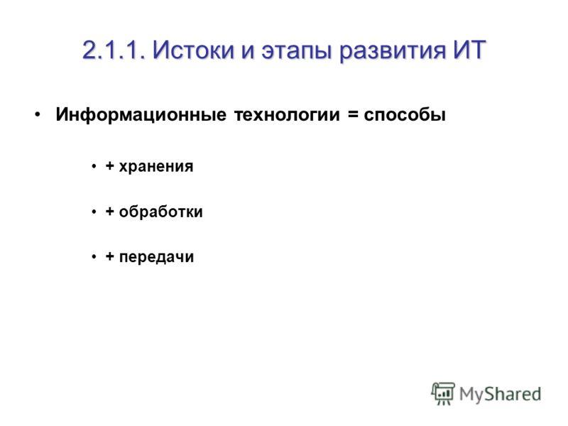 2.1.1. Истоки и этапы развития ИТ Информационные технологии = способы + хранения + обработки + передачи