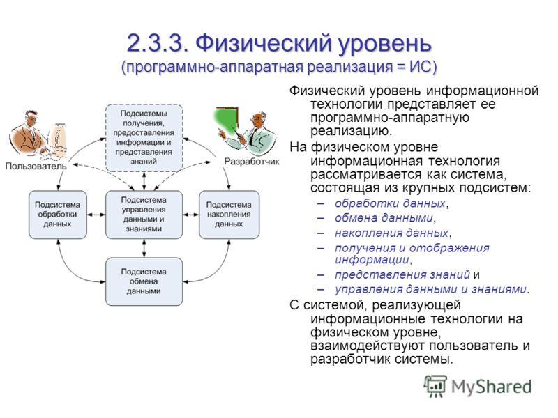 2.3.3. Физический уровень (программно-аппаратная реализация = ИС) Физический уровень информационной технологии представляет ее программно-аппаратную реализацию. На физическом уровне информационная технология рассматривается как система, состоящая из