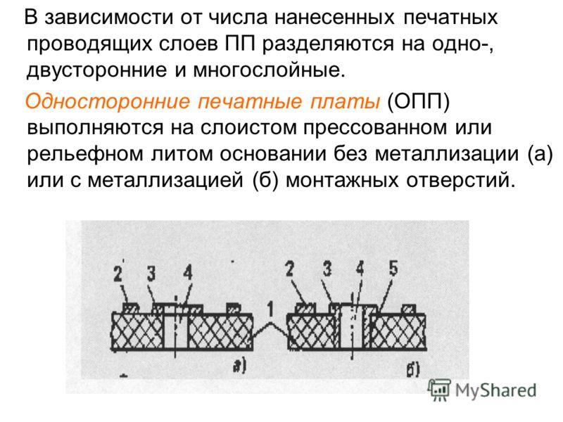В зависимости от числа нанесенных печатных проводящих слоев ПП разделяются на одно-, двусторонние и многослойные. Односторонние печатные платы (ОПП) выполняются на слоистом прессованном или рельефном литом основании без металлизации (а) или с металли