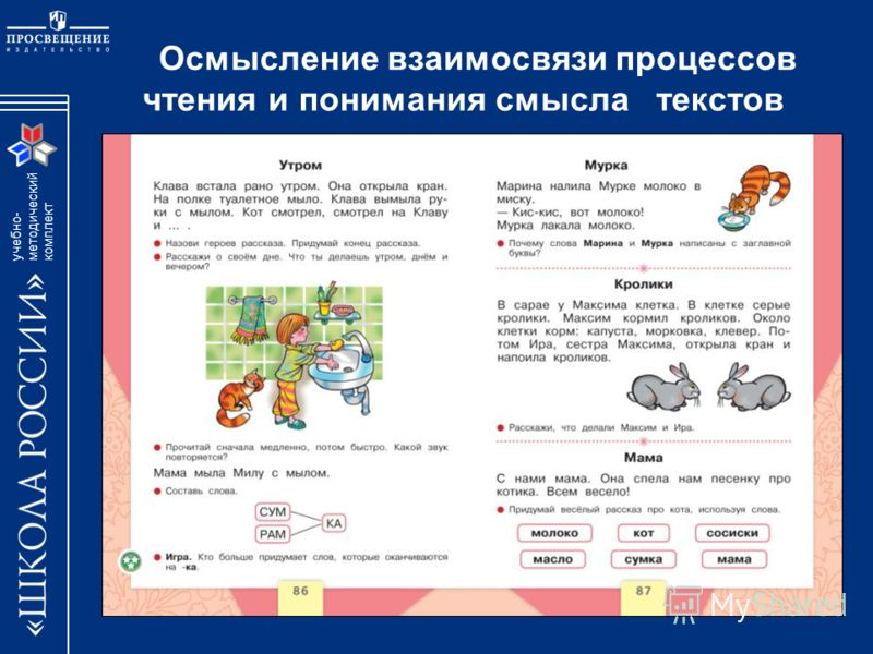 учебно- методический комплект Осмысление взаимосвязи процессов чтения и понимания смысла текстов