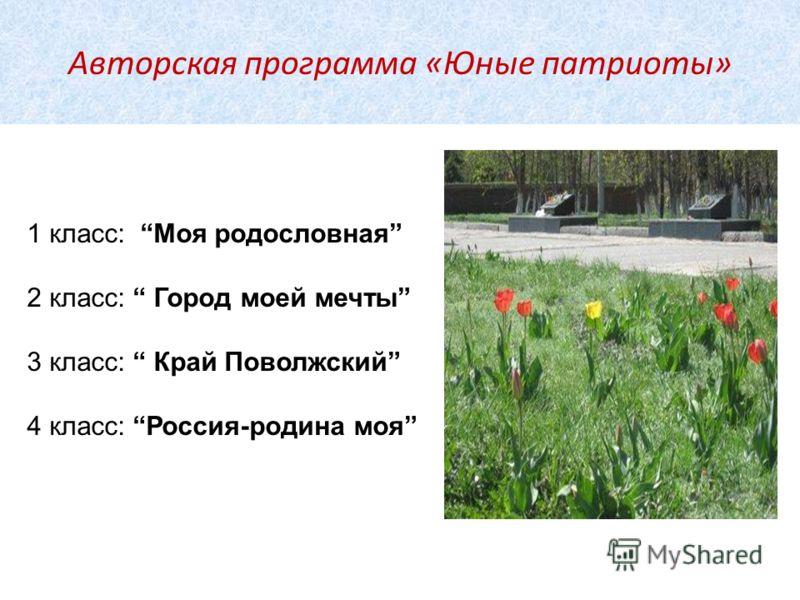 Авторская программа «Юные патриоты» 1 класс: Моя родословная 2 класс: Город моей мечты 3 класс: Край Поволжский 4 класс: Россия-родина моя