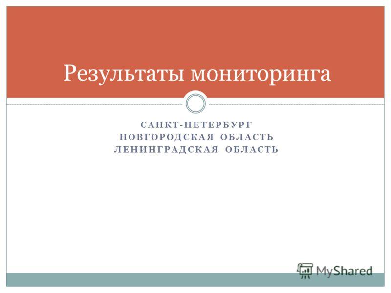 САНКТ-ПЕТЕРБУРГ НОВГОРОДСКАЯ ОБЛАСТЬ ЛЕНИНГРАДСКАЯ ОБЛАСТЬ Результаты мониторинга