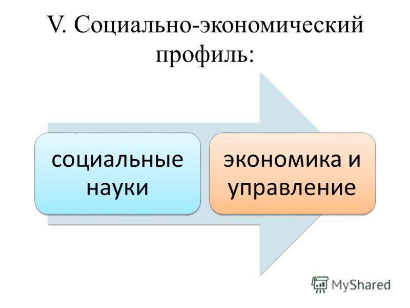 V. Социально-экономический профиль: социальные науки экономика и управление.