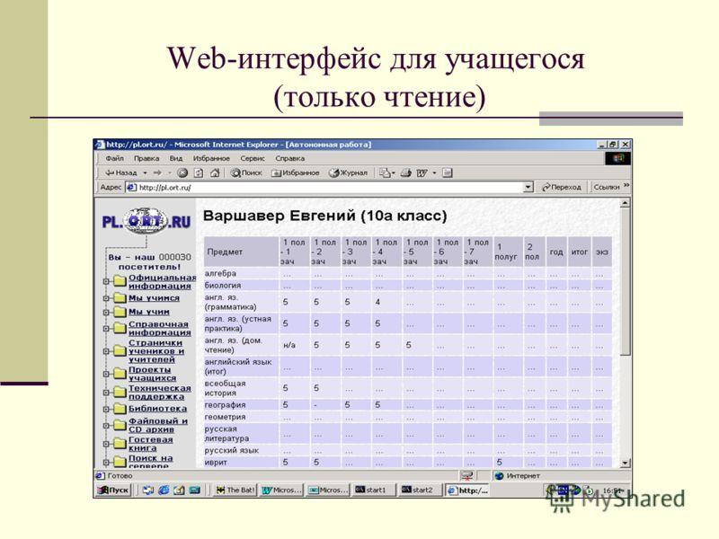 Web-интерфейс для учащегося (только чтение)