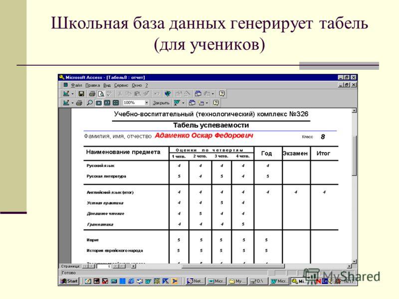 Школьная база данных генерирует табель (для учеников)