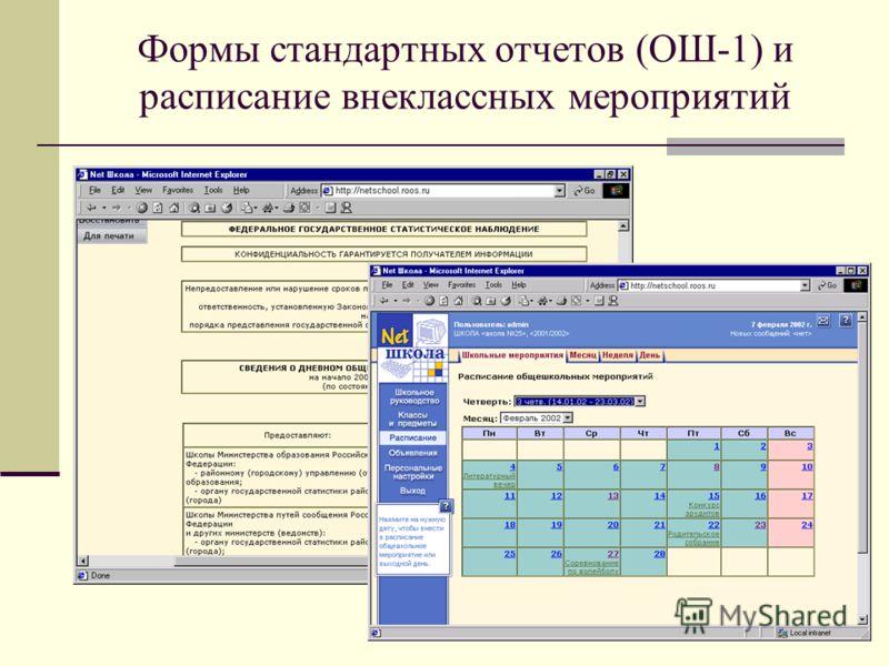 Формы стандартных отчетов (ОШ-1) и расписание внеклассных мероприятий