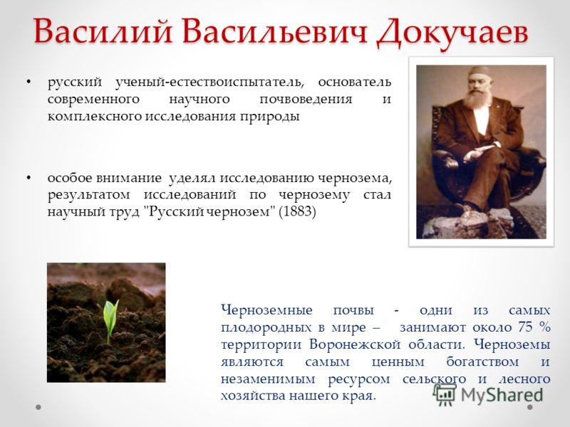 Василий Васильевич Докучаев русский ученый-естествоиспытатель, основатель современного научного почвоведения и комплексного исследования природы особое внимание уделял исследованию чернозема, результатом исследований по чернозему стал научный труд