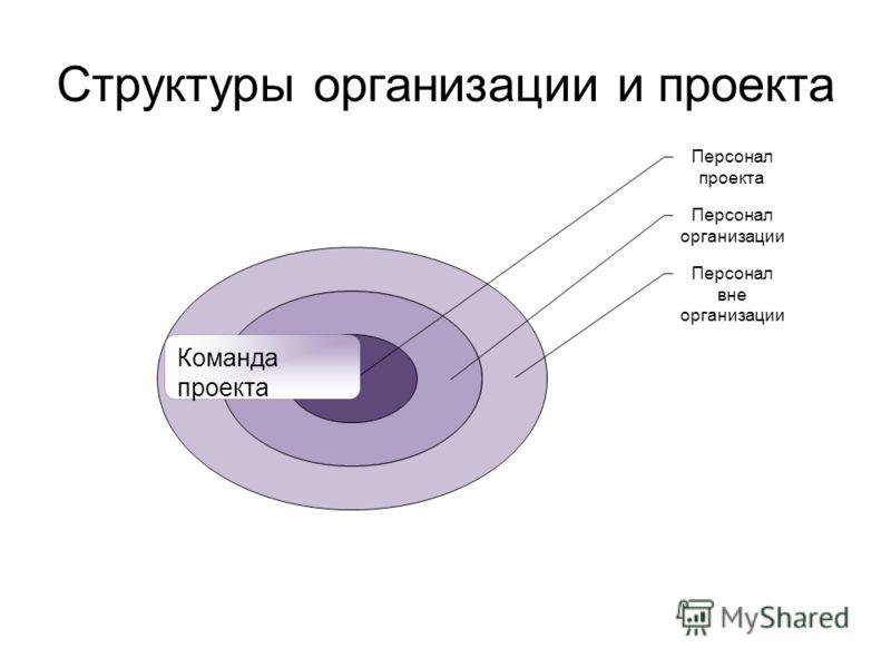 Структуры организации и проекта Команда проекта