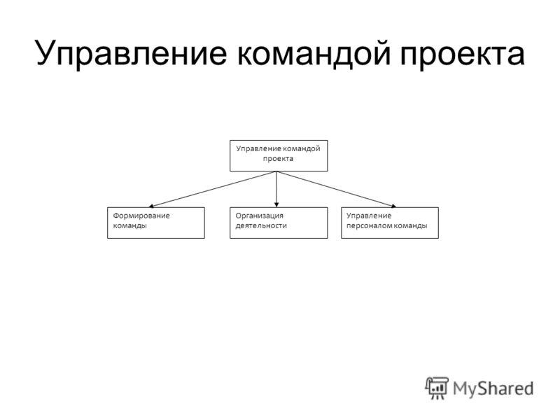 Управление командой проекта Управление персоналом команды Организация деятельности Формирование команды