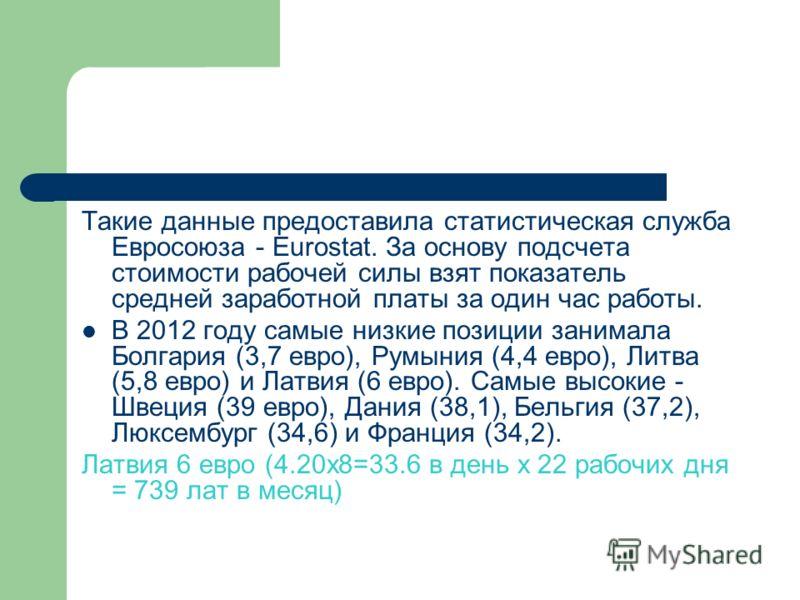 Такие данные предоставила статистическая служба Евросоюза - Eurostat. За основу подсчета стоимости рабочей силы взят показатель средней заработной платы за один час работы. В 2012 году самые низкие позиции занимала Болгария (3,7 евро), Румыния (4,4 е