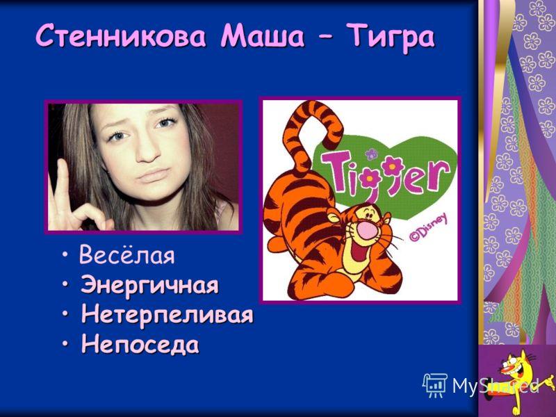 Стенникова Маша – Тигра Весёлая Энергичная Энергичная Нетерпеливая Нетерпеливая Непоседа Непоседа