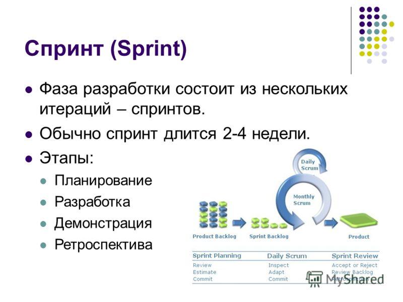 Спринт (Sprint) Фаза разработки состоит из нескольких итераций – спринтов. Обычно спринт длится 2-4 недели. Этапы: Планирование Разработка Демонстрация Ретроспектива