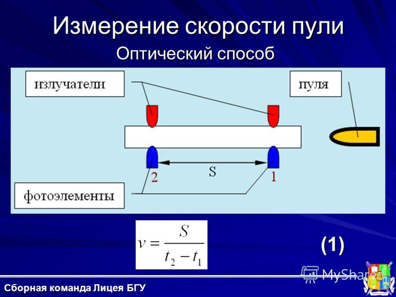 Измерение скорости пули Оптический способ (1) Сборная команда Лицея БГУ
