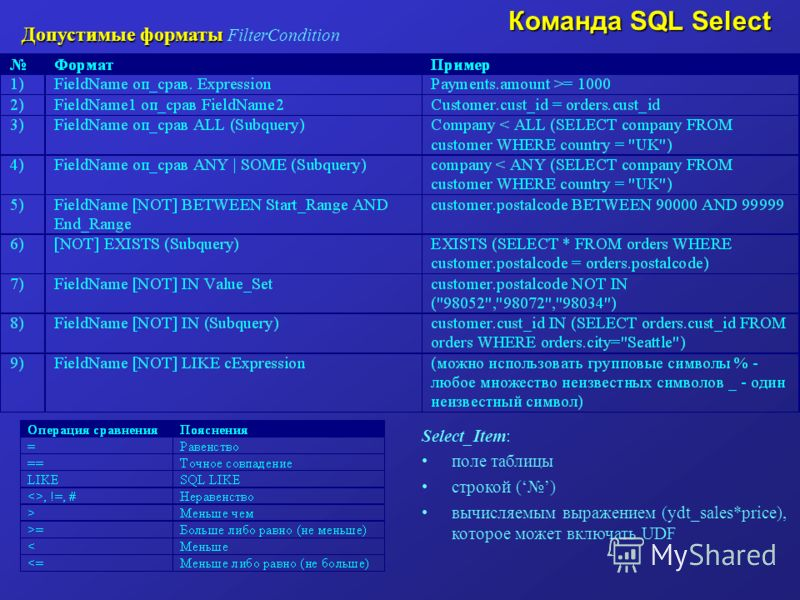 Допустимые форматы Допустимые форматы FilterCondition Команда SQL Select Select_Item: поле таблицы строкой () вычисляемым выражением (ydt_sales*price), которое может включать UDF