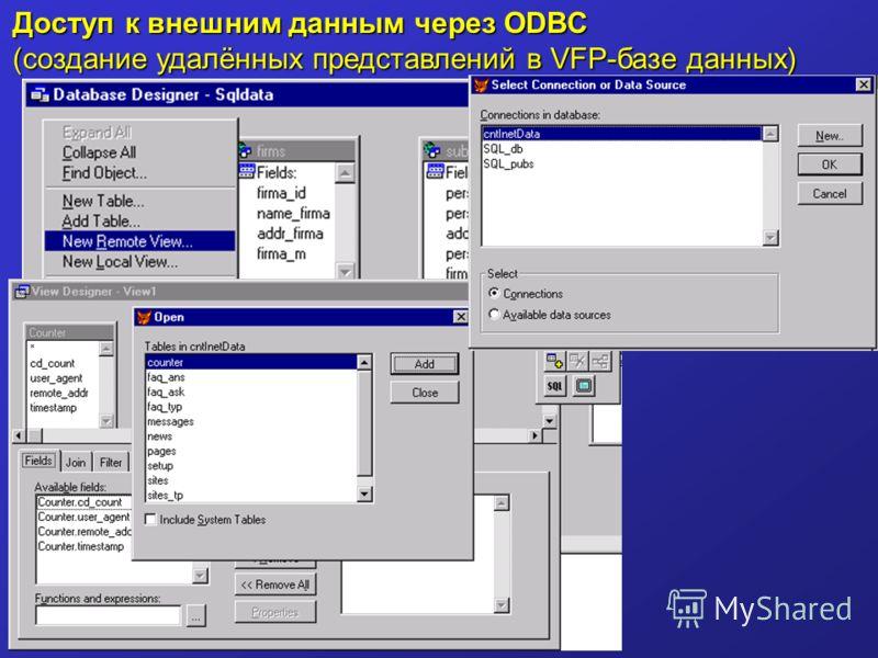 Доступ к внешним данным через ODBC (создание удалённых представлений в VFP-базе данных)