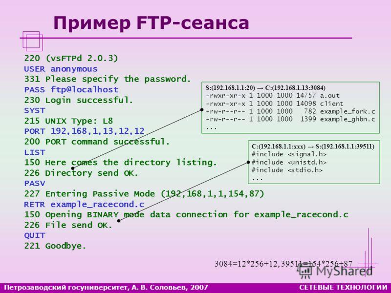 Петрозаводский госуниверситет, А. В. Соловьев, 2007СЕТЕВЫЕ ТЕХНОЛОГИИ Пример FTP-сеанса 220 (vsFTPd 2.0.3) USER anonymous 331 Please specify the password. PASS ftp@localhost 230 Login successful. SYST 215 UNIX Type: L8 PORT 192,168,1,13,12,12 200 POR