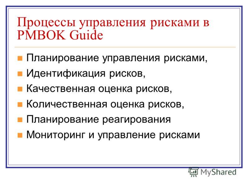 Процессы управления рисками в PMBOK Guide Планирование управления рисками, Идентификация рисков, Качественная оценка рисков, Количественная оценка рисков, Планирование реагирования Мониторинг и управление рисками