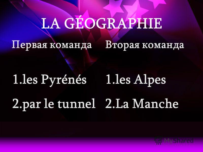 LA GÉOGRAPHIE Первая команда 1.les Pyrénés 2.par le tunnel Вторая команда 1.les Alpes 2.La Manche