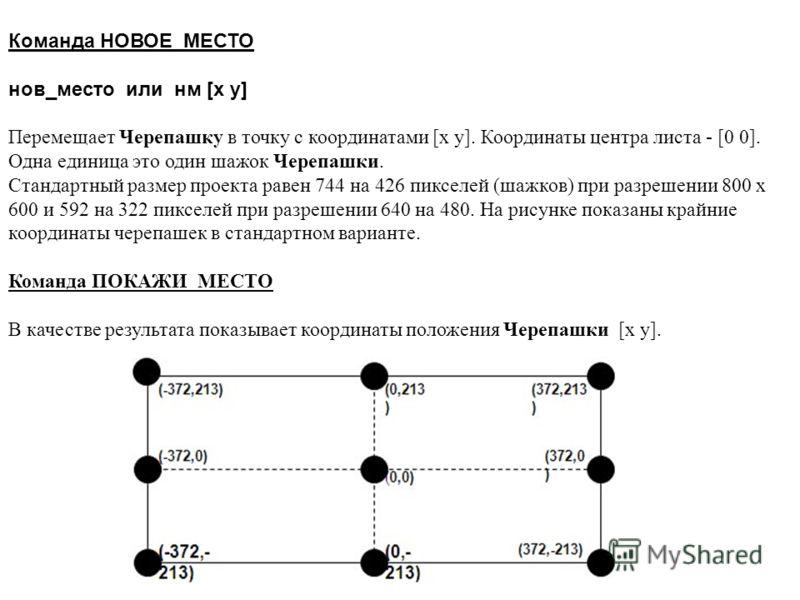 Команда НОВОЕ_МЕСТО нов_место или нм [x y] Перемещает Черепашку в точку с координатами [x y]. Координаты центра листа - [0 0]. Одна единица это один шажок Черепашки. Стандартный размер проекта равен 744 на 426 пикселей (шажков) при разрешении 800 х 6