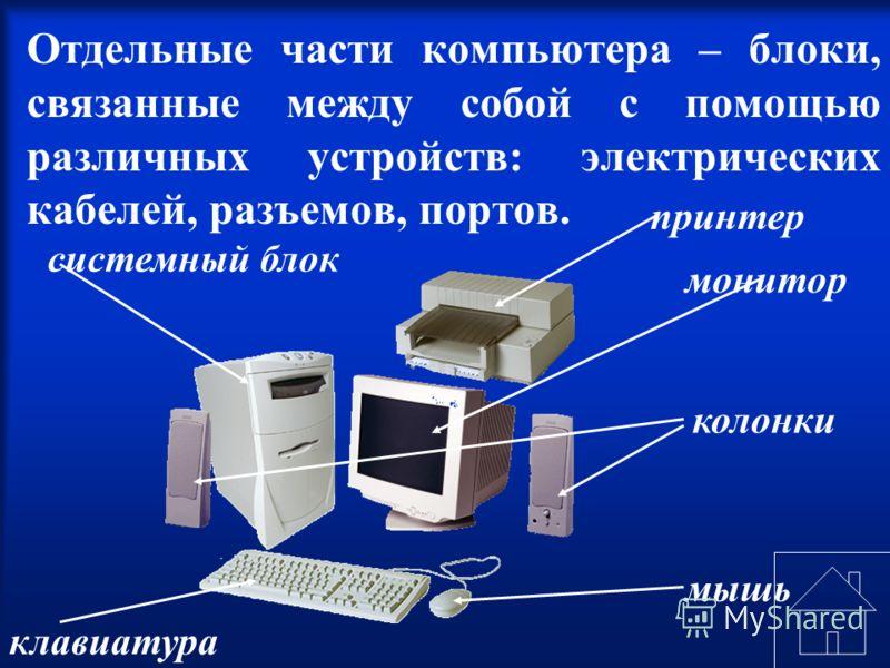 Отдельные части компьютера – блоки, связанные между собой с помощью различных устройств: электрических кабелей, разъемов, портов. колонки монитор принтер системный блок клавиатура мышь