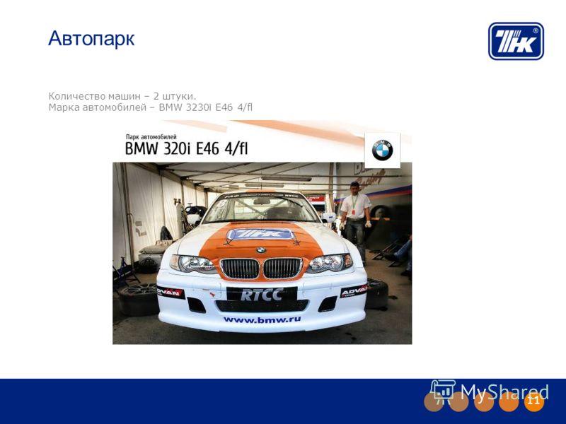 11 Автопарк Количество машин – 2 штуки. Марка автомобилей – BMW 3230i E46 4/fl