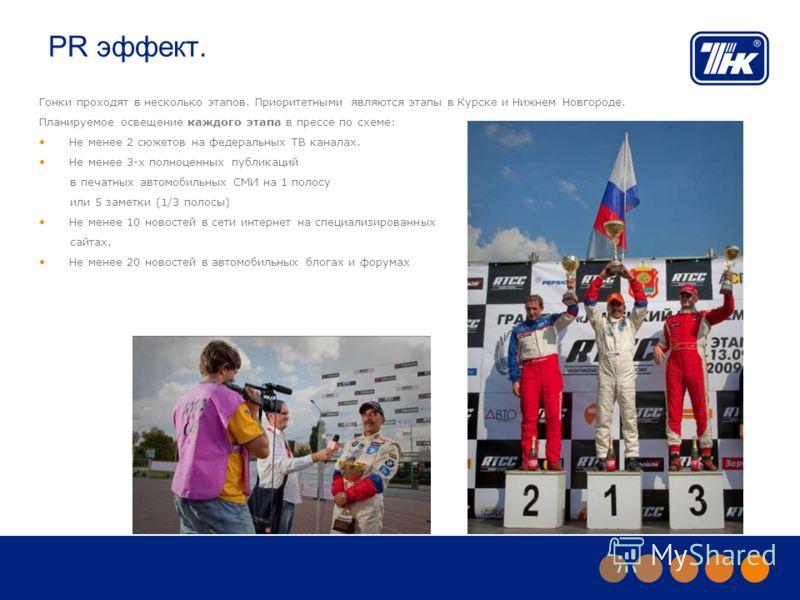 PR эффект. Гонки проходят в несколько этапов. Приоритетными являются этапы в Курске и Нижнем Новгороде. Планируемое освещение каждого этапа в прессе по схеме: Не менее 2 сюжетов на федеральных ТВ каналах. Не менее 3-х полноценных публикаций в печатны
