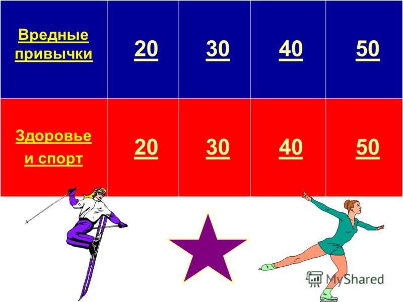 Вредные привычки 20 30 40 50 Здоровье и спорт 20 30 40 50