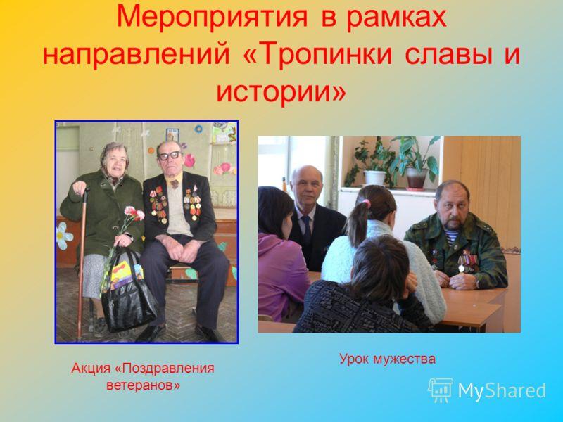 Мероприятия в рамках направлений «Тропинки славы и истории» Урок мужества Акция «Поздравления ветеранов»