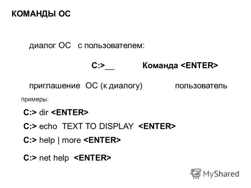 КОМАНДЫ ОС диалог ОС с пользователем: C:>__ Команда приглашение ОС (к диалогу) пользователь C:> dir C:> echo TEXT TO DISPLAY примеры: C:> help | more C:> net help