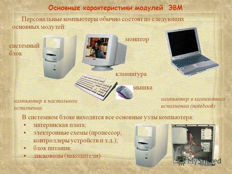 системный блок Основные характеристики модулей ЭВМ компьютер в настольном исполнении компьютер в компактном исполнении (notebook) клавиатура В системном блоке находятся все основные узлы компьютера: материнская плата; электронные схемы (процессор, ко