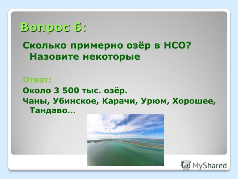 Вопрос 6: Сколько примерно озёр в НСО? Назовите некоторые Ответ: Около 3 500 тыс. озёр. Чаны, Убинское, Карачи, Урюм, Хорошее, Тандаво…