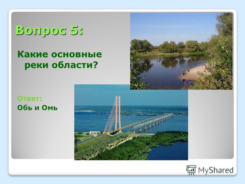 Вопрос 5: Какие основные реки области? Ответ: Обь и Омь