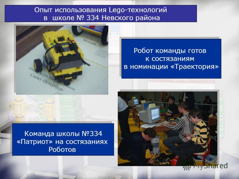 Опыт использования Lego-технологий в школе 334 Невского района Команда школы 334 «Патриот» на состязаниях Роботов Робот команды готов к состязаниям в номинации «Траектория» Робот команды готов к состязаниям в номинации «Траектория»