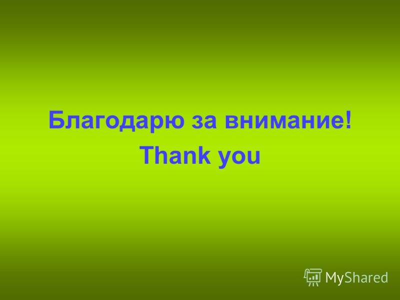 Благодарю за внимание! Thank you