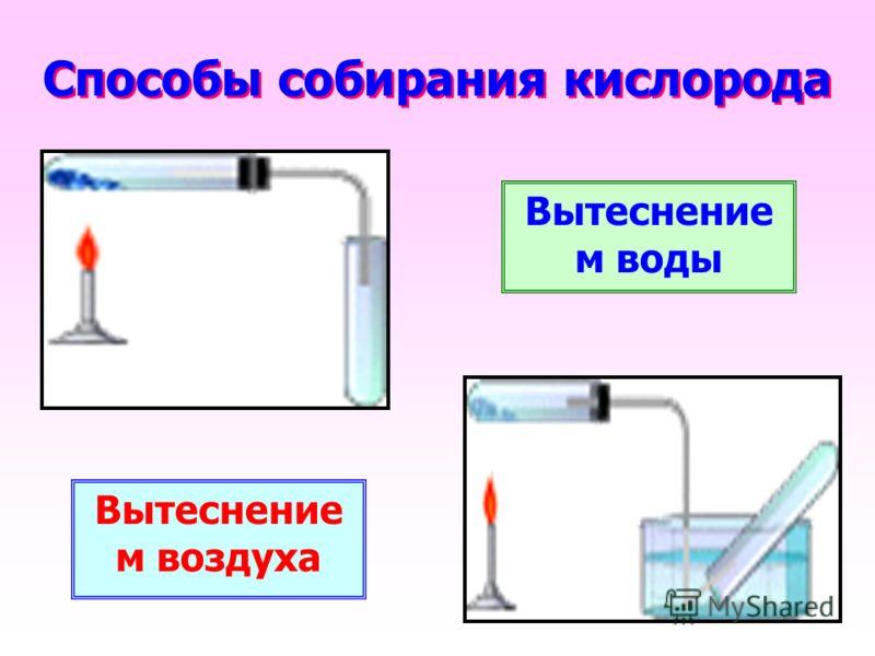 Способы собирания кислорода Вытеснение м воздуха Вытеснение м воды