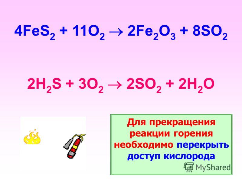 4FeS 2 + 11O 2 2Fe 2 O 3 + 8SO 2 2H 2 S + 3O 2 2SO 2 + 2H 2 O Для прекращения реакции горения необходимо перекрыть доступ кислорода