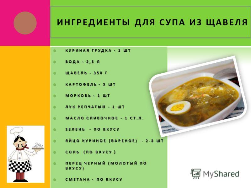 ИНГРЕДИЕНТЫ ДЛЯ СУПА ИЗ ЩАВЕЛЯ КУРИНАЯ ГРУДКА - 1 ШТ КУРИНАЯ ГРУДКА - 1 ШТ ВОДА - 2,5 Л ВОДА - 2,5 Л ЩАВЕЛЬ - 350 Г ЩАВЕЛЬ - 350 Г КАРТОФЕЛЬ - 5 ШТ КАРТОФЕЛЬ - 5 ШТ МОРКОВЬ - 1 ШТ МОРКОВЬ - 1 ШТ ЛУК РЕПЧАТЫЙ - 1 ШТ ЛУК РЕПЧАТЫЙ - 1 ШТ МАСЛО СЛИВОЧНОЕ