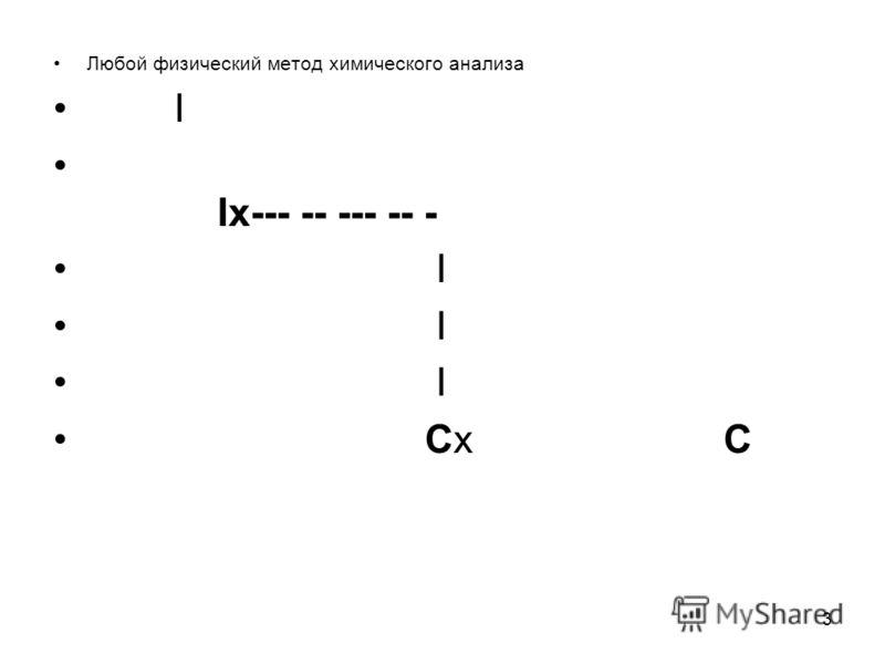 3 Любой физический метод химического анализа I Ix--- -- --- -- - I Cx C