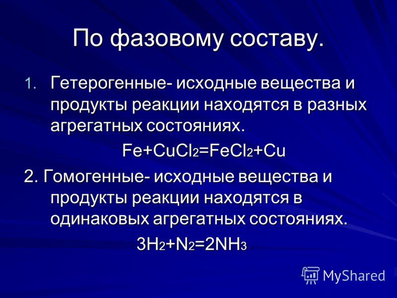 По фазовому составу. 1. Гетерогенные- исходные вещества и продукты реакции находятся в разных агрегатных состояниях. Fe+CuCl 2 =FeCl 2 +Cu Fe+CuCl 2 =FeCl 2 +Cu 2. Гомогенные- исходные вещества и продукты реакции находятся в одинаковых агрегатных сос