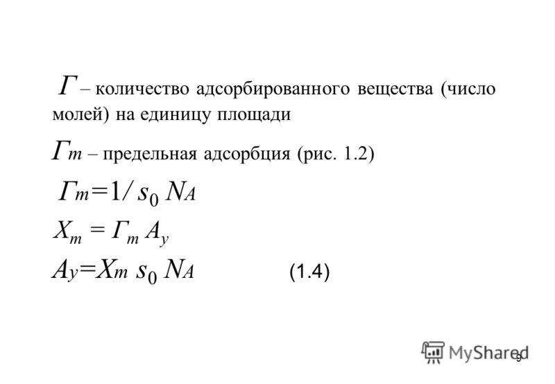 9 Г – количество адсорбированного вещества (число молей) на единицу площади Г m – предельная адсорбция (рис. 1.2) Г m =1/ s 0 N A X m = Г m А у А у =X m s 0 N А (1.4)