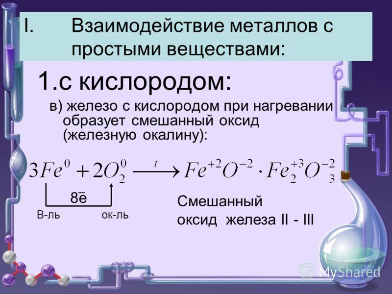I.Взаимодействие металлов с простыми веществами: 1.с кислородом: в) железо с кислородом при нагревании образует смешанный оксид (железную окалину): 8е Смешанный оксид железа II - III В-ль ок-ль