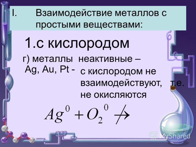 I.Взаимодействие металлов с простыми веществами: 1.с кислородом г) металлы неактивные – Ag, Au, Pt - с кислородом не взаимодействуют, т.е. не окисляются