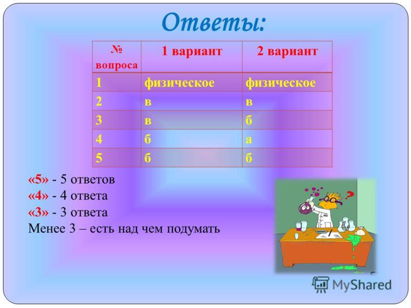 Ответы: вопроса 1 вариант2 вариант 1физическое 2вв 3вб 4ба 5бб «5» - 5 ответов «4» - 4 ответа «3» - 3 ответа Менее 3 – есть над чем подумать