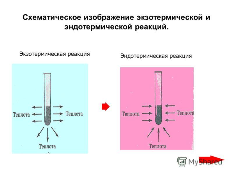 Схематическое изображение экзотермической и эндотермической реакций. Экзотермическая реакция Эндотермическая реакция