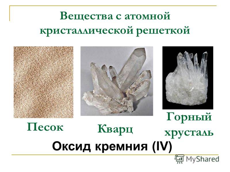 Оксид кремния (IV) Песок Кварц Горный хрусталь Вещества с атомной кристаллической решеткой