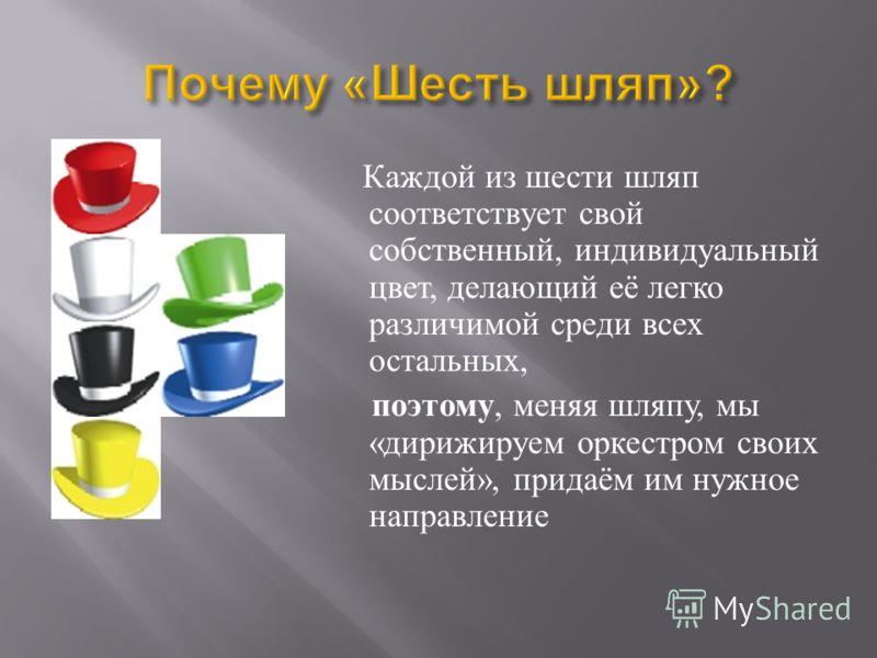 Каждой из шести шляп соответствует свой собственный, индивидуальный цвет, делающий её легко различимой среди всех остальных, поэтому, меняя шляпу, мы « дирижируем оркестром своих мыслей », придаём им нужное направление