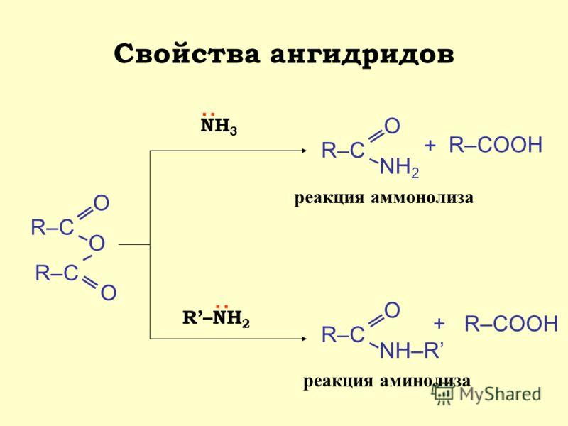 Свойства ангидридов R–С О O О NH 3 : R–С О NH 2 + R–COOH R–NH 2 : R–С О NH–R +R–COOH реакция аммонолиза реакция аминолиза